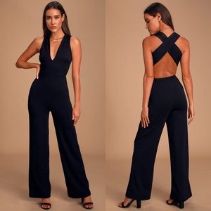 Lulu's | Thinking Out Loud Backless Jumpsuit